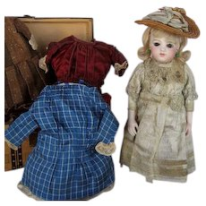 """11""""French Antique Bru Brevet Bebe with Trunk and  Clothes"""