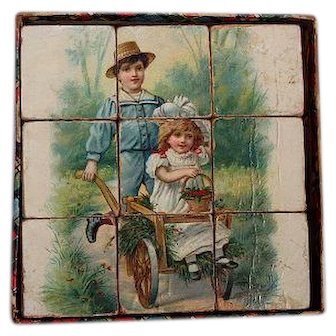 Wonderful Original and Complete Set of Lithographed Blocks Small for Dolls