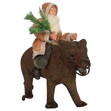 Circa 1900 Santa on Bear with Wheels Very Rare