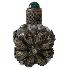 Outstanding Ornate Petite Ornate Silver Embellished Glass Perfume Bottle with Faux Emerald Gem