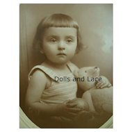 Fabulous Original Vintage Photo Child Holding Bear