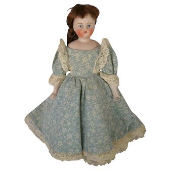Petite Antique German Bisque Shoulderhead Doll with Cloth Body