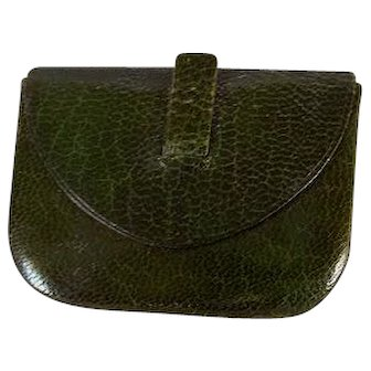 Vintage Dark Olive Leather Purse for French Fashion Doll