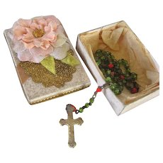 Lovely Antique Rosary Beads with Crucifix in Dainty Box for French Fashion Doll
