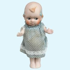Kewpie Type All Bisque Doll in Vintage Blue and White Dress Jointed Arms
