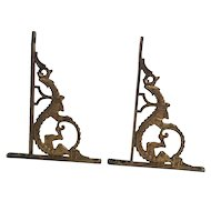 Antique Shelf L Bracket Asian Oriental Dragon Set Of 2 Gold Colored Hardware