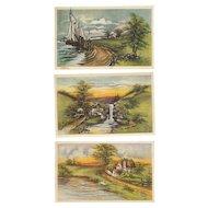 Lot of 3 Artist Signed Kathryn Elliott Vintage Postcards Scenic views