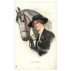 """Artist Signed Raphael Tuck """"We are Chums"""" vintage postcard Woman and her horse Chums Series"""