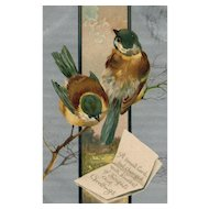 BB London Small blue birds on a tree vintage postcard Series 2111