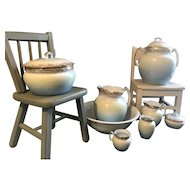 Rare Outstanding 1900's 11 Piece Elegant Blue and gold Ironstone Commode set