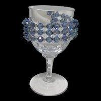 Vintage 3 Strand Blue and White Aurora Borealis Wrap Around Cuff Bracelet