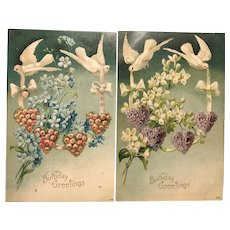 Beautiful Set Of Two White Dove Violets Roses Forget Me Not Flowers Birthday Greetings Postcard