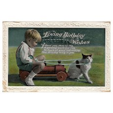 Loving Birthday Wishes Boy on toy train pulled by a cat Kitten