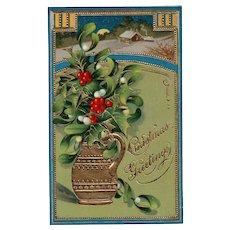 Gold Gilt Gel Christmas Greeting Vase of Holly & Mistle Toe