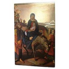 Gorgeous Metallic Mother Mary Baby Jesus & Joseph Religious Angel Christmas Postcard