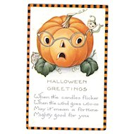 Whitney Vintage Halloween Postcard Jack O Lantern with Elf and mouse
