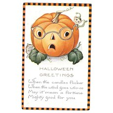 Whitney Vintage Halloween Postcard Jack O Lantern with Elf and mouse