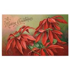 Rare Artist Signed Ellen Clappsaddle Poinsettia Christmas postcard