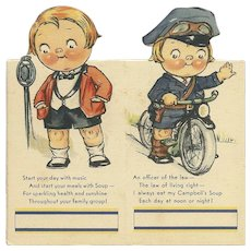 Pair of Campbell Soup Bridge Tally Boy Policeman on bicycle and in front of microphone