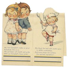 Set of 2 Campbell Soup Bridge tally cards with girl chef and boy and girl