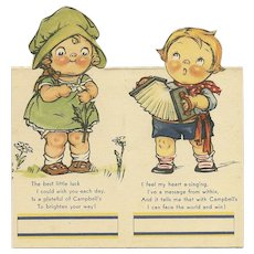 "Set of 2 Campbell Soup Bridge Tally cards Boy playing accordion and girl picking ""He Loves me""daisy petals"
