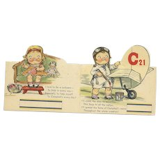 Set of 2 Campbell Soup Bridge Tally cards Boy airplane Pilot and Girl sewing