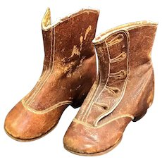 Vintage Child Baby Doll Brown Leather Boots