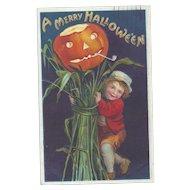 Signed Ellen Clapsaddle Vintage Halloween Postcard Boy with Haystack series 978