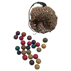 Beautiful Set of 25 colorful Clay Marbles with the crocheted pouch
