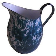 "9.5"" Rare Crystolyte blue Graniteware Pitcher Enamelware Blue green aqua"