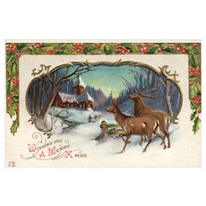Nash Scenic View Of Winter Night Doe and Buck Colorful Christmas Greetings Postcard