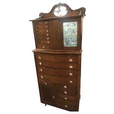 Oak Ornate Ransom & Randolph CO Dental Dentist Cabinet #40 glass knobs