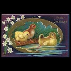1911 Purple Easter Duck Chicks Gold Egg  Embossed vintage Postcard