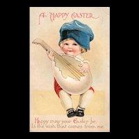 Ellen Clapsaddle Easter Girl with Egg Mandolin Guitar vintage postcard Series 120