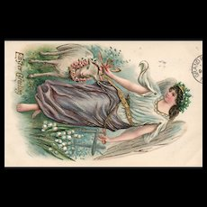 Vintage Postcard Embossed Angel with Large Beautiful Wings Walking a Small Lamb