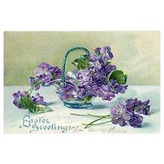 Beautiful Embossed Basket Full Of Purple Flowers Easter Greetings Postcard