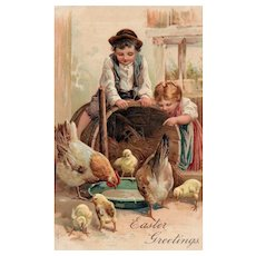 No 7500 & 7503 Beautiful Embossed Children Watching Hens and Chicks Eat Easter Greetings Postcard