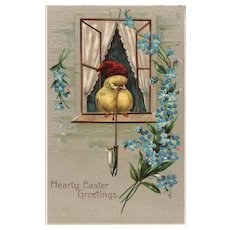 No 6706 Adorable Chick Wearing Red Night Cap With Long Stem Smoking Pipe Easter Postcard