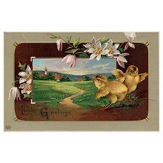 Beautiful EAS Gel Scenic Chicks Easter Vintage Postcard