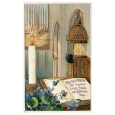 1914 Gold Gilt Gel Easter Church Cathedral vintage Postcard