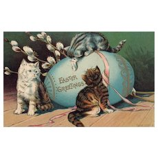 Lovely Easter Kittens play with a large colored egg Cat Vintage Postcard