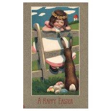 Wonderful Early Raphael Tuck Art Series 167 vintage Easter Postcard  girl Bunny Rabbit