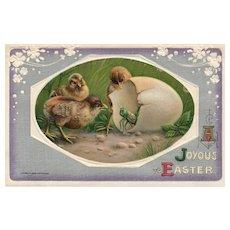Rare 1910 John Winsch Easter Chicks with Grasshopper vintage Postcard