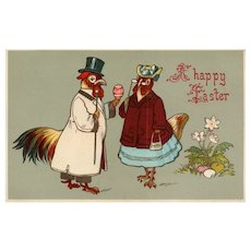 1911 Fancy Dressed Rooster & Hen Easter Gel Finish vintage Postcard