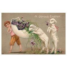 EAS Easter Lambs walk and eat vintage Easter Postcard