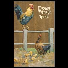 Easter Rooster Perched on Fence Post Hen watches with chicks Postcard