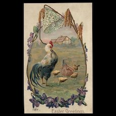1907 Easter Greeting Rooster Hen  & Chicks vintage Postcard