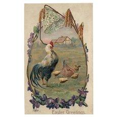 1907 Easter Greeting Rooster Hen  & Chicks vintage Postcard