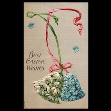 Wonderful simple Easter postcard Bells made of flowers #322