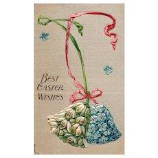 Wonderful simple Easter postcard Bells made of flowers #322
